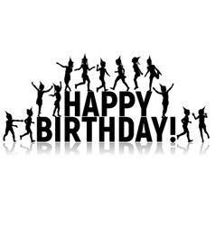 silhouettes of letters children happy birthday vector image