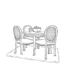 Table and chair sketch dinner in the home vector