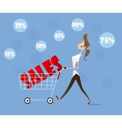 woman with trolley vector image