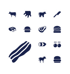 13 beef icons vector