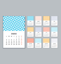 2021 spanish calendar wall calender with 12 month vector