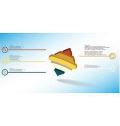 3d infographic template with embossed bent rhomb vector