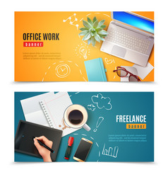 3d office objects banners vector