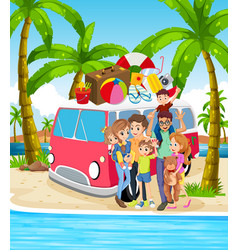 a family at beach holiday vector image