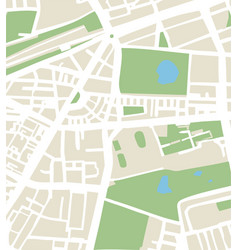 abstract city map with streets parks and ponds vector image