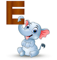 alphabet e with elephant cartoon vector image