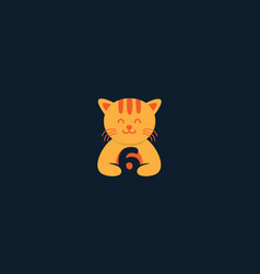 Animal pet cat kitty kitten cute with number 6 vector