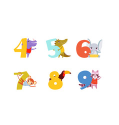 anniversary numbers with cute animals set hippo vector image