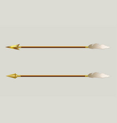 Arrow with a gold tip and a white feather vector
