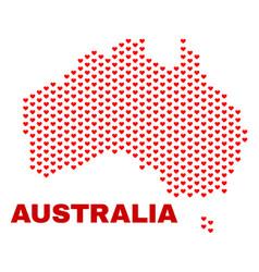 australia map - mosaic of love hearts vector image