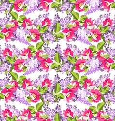 Beautiful floral seamless pattern with lilac vector image