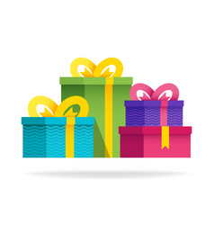 big group gift boxes with ribbons and bows flat vector image