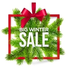 Big winter sale label with red ribbon and green vector image