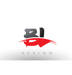 Bl b l brush logo letters with red and black vector