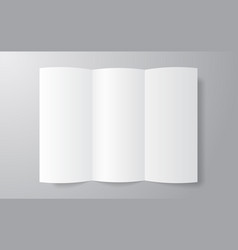 blank trifold paper brochure mockup on soft gray vector image