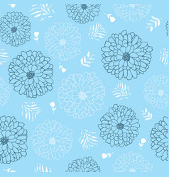 blue and white flowers seamless repeat pattern vector image