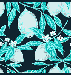 blue colored lemon pattern vector image