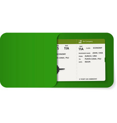 boarding pass inside of green envelope vector image