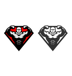 Bodybuilding logo two options vector