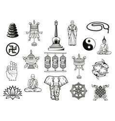 Buddhism religion symbol buddha ying yang lotus vector