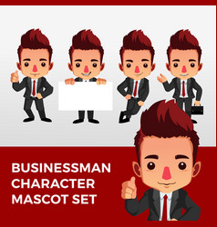 Business man character mascot set logo icon vector