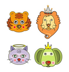 cartoon animal faces vector image