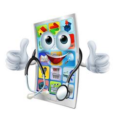 Cartoon phone doctor man vector