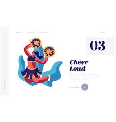 Cheerleader girl dancing with pompons on sport vector