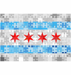 chicago flag made of puzzle background vector image