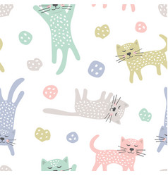 childish seamless pattern with cats creative vector image