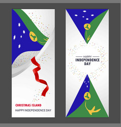 Christmas island happy independence day confetti vector