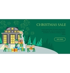 Christmas sale web banner elves packing presents vector