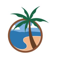 circular palm beach view travel island vector image