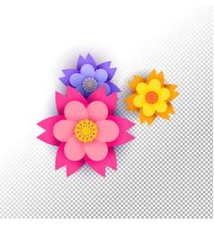 Color paper cut flower set on isolated background vector