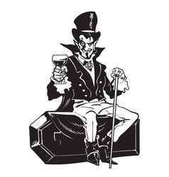 Count dracula sitting on the coffin halloween vector