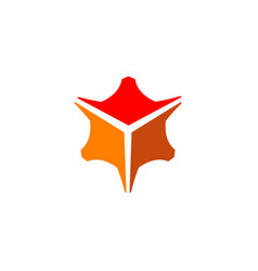 creative orange box hexagon logo vector image