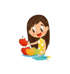 cute brunette girl sitting on the floor and eating vector image