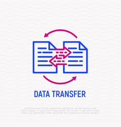 Data transfer thin line icon vector