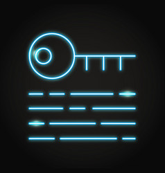 Digital key icon in neon line style vector