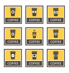 disposable coffee cup icons and signs set vector image