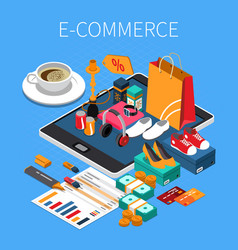 E-commerce isometric composition vector