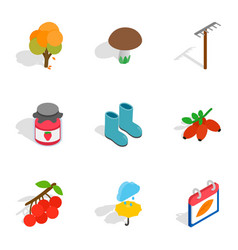 Fall icons isometric 3d style vector