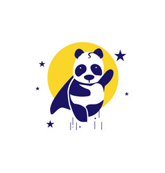flying pandas in outer space like superman vector image