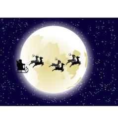 Flying Santa and Full Moon2 vector image