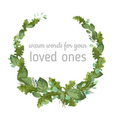 foliage watercolor pattern wreath frame leaves vector image
