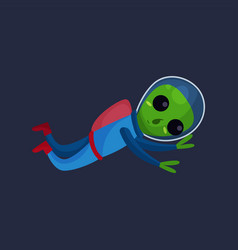 friendly green alien with big eyes wearing blue vector image