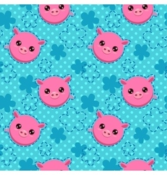 Funny seamless pattern with cute piglets vector