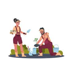 gardener cartoon agricultural workers replanting vector image