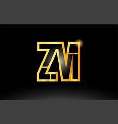 Gold black alphabet letter zm z m logo vector