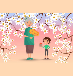 grandmother with grandson surrounded with flowers vector image